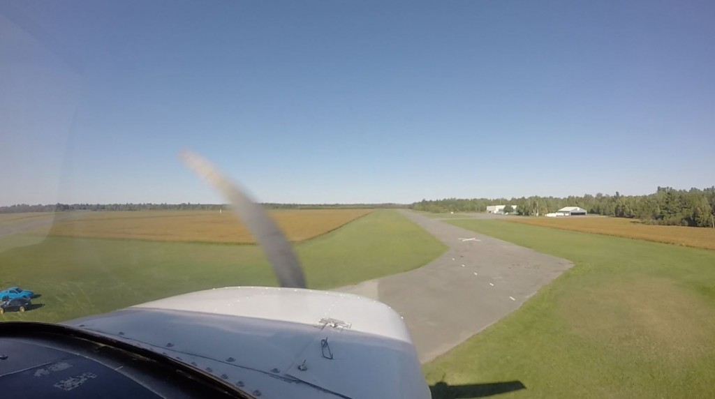 Very short final on 31. You can see the closed runway on the right, with its white X the end.